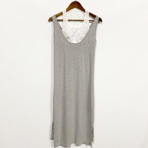 Athleta | Gray Mesh Midi Dress Side Slits NWT M
